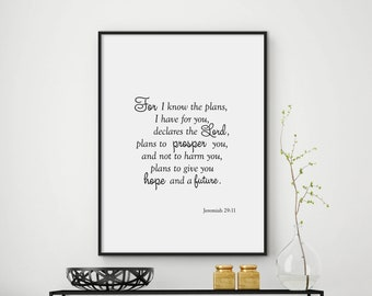 Jeremiah 29 11, bible verse print, scripture print, bible verse wall art, christian print, bible quote, christian art print, DIGITAL FILES