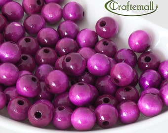 Wooden Beads - Fuchsia Pink 12mm - 20 Beads