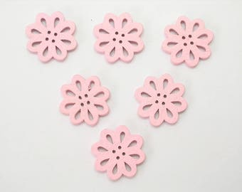 SET of 6 wood buttons: flower Lacy pink 20mm