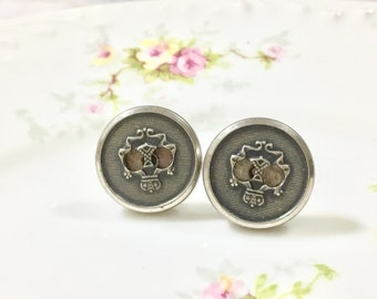 Sugar Skull Studs, Vintage Button Studs in Aged Gray Metal, Day of the Dead Studs, Halloween Stud Earrings, Filigree Skull Studs (LB1)