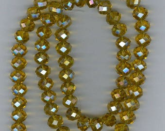 Yellow Abacus Rondelle, 10mm x 8mm Faceted Golden Yellow Glass Abacus Rondelle Spacer Beads