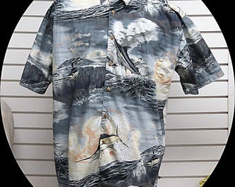 Mens  Hawaiian Tropical Retro Shirt XL #540
