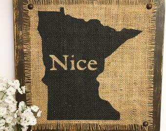Minnesota Rustic, Burlap State Sign, distressed Brown, MN Nice Burlap Sign, Minnesota Nice Sign for Living Room, Burlap Sign, MN sign, Sign