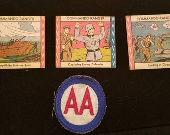 Set of 3 commando ranger pictogram trading card and a official ww2 anti artillery  patch