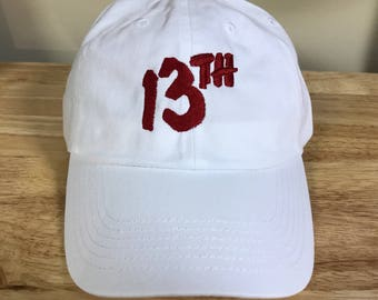 White 13th Embroidered Hat