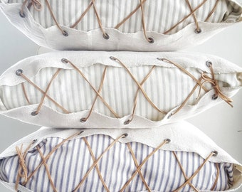 Ticking striped pillow cover, Farmhouse pillow cover, Farmhouse decor, Farmhouse pillow, Striped pillow, Pillow cover, Leather lace, Spring