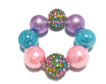 Toddler or Girls Pink, Turquoise, Purple Chunky Bracelet - Confetti chunky bracelet - Easter Chunky Bracelet - Pink Spring Chunky Bracelet