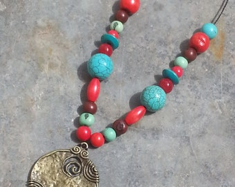 Necklace bronze pendant - necklace - gemstone necklace - mineral stone necklace seed - necklace - ethnic necklace - wood beads string