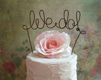 WE DO Wedding Cake Topper Banner - Rustic Wedding Cake Topper, Custom Wedding Decoration, Shabby Chic Wedding Cake Decoration, Garden Party