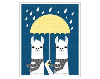 72J - Umbrella Art Prints - Two Llamas with Yellow Umbrella Wall Art - Umbrella Poster - Funny Kids Wall Decor - Llama Decor - Art for Kids