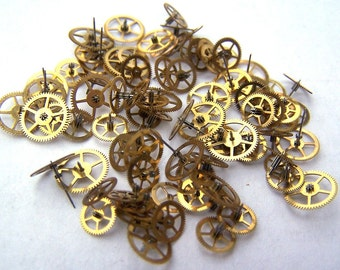 Steampunk Watch Pieces and Parts - 100 small vintage brass watch gears Cogs Wheels