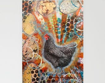 Chicken Greeting Card Original Art Print on Blank Greeting Card Chicken Print Chicken Art