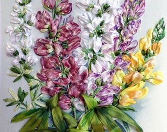 """Ribbon embroidered picture """"Lupines"""",  embroidery for frame, ribbon work, ribbon roses, textile art, embroidery, silk ribbon embroidery."""