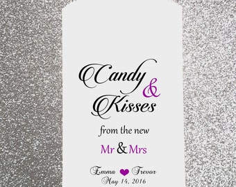 W1, Candy and Kisses from the New Mr & Mrs, Wedding Candy Bag, Wedding Candy Buffet, Favor Bags, Treat Bags, Bridal Shower, Personalized bag