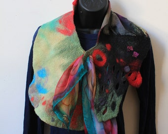Painted silk and merino wool felted scarf/collar - art to wear