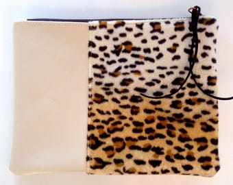 leather clutch leopard*