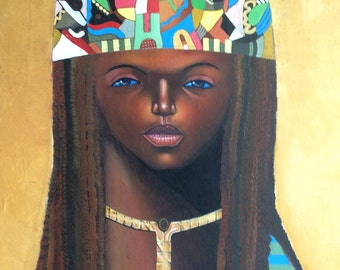 Abstract Mid Century Modern Oil Painting of Egyptian Woman, Signed
