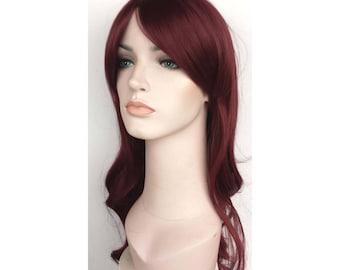 Burgundy long wavy wig. synthetic burgundy hair. Ready to ship.