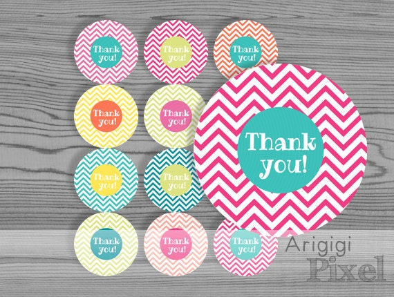 Thank you stickers printable label round, chevron, colorful, party circle,  2.5 in , blank circles included, download