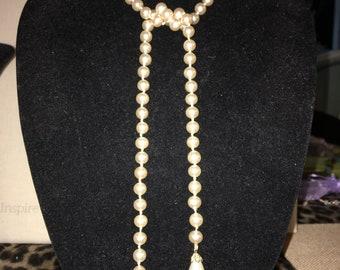 "Vintage Pearl Lariat Necklace 32"""