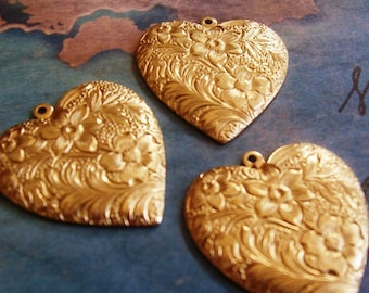 2 PC Raw Brass Victorian Floral Heart Pendant Finding - H0176