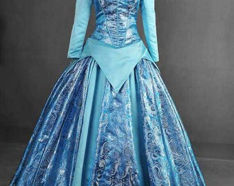 Blue Sleeping Beauty Aurora Custom Made Cosplay Costume Gown