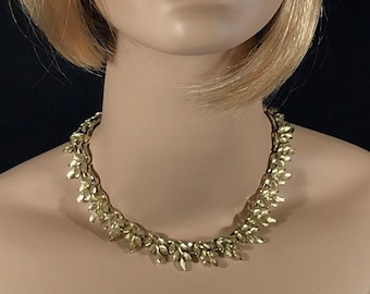 Vintage choker. Gold colored and very, very MCM (midcentury modern)! Unique gift!