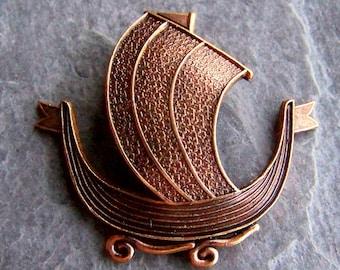 Viking Ship, Brass Stamping, Vintage Stamping, Unique Stamping, Vintage Finding, Brass Finding, Rare, Nautical, Beach, Steampunk, Pirate, 4