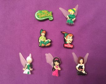 7-pc Disney Fairies / Tinkerbell / Peter Pan Shoe Charms for Crocs, Silicone Bracelet Charms, Party Favors, Jibbitz
