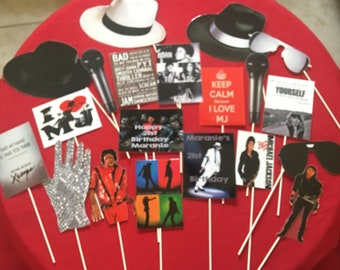 Michael Jackson Inspired Photo Props, Michael Jackson Party Supplies, Michael Jackson Party decorations, King of Pop