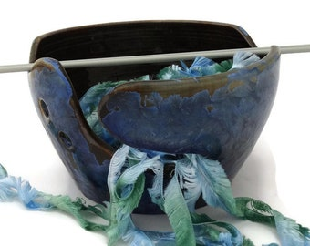 Blue Pottery Knitting Bowl, Yarn Bowl, Crochet bowl, Yarn Storage, Knitters Gift for Knitter, Pottery Wheel Thrown, Australian Pottery