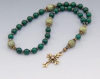 Green Anglican Prayer Beads - Christian Rosary - Pocket Prayer Beads - Item # 782