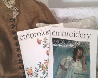 2 embroidery magazines, embroiderers guild books, embroidery projects, inspiration and ideas, sewing ideas