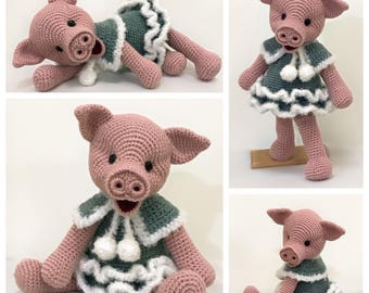 Crochet pig, crochet animal, amigurumi pig - Little Miss Winter Piggy, Amigurumi Pattern, Animal Crochet Pattern, Stuffed pig, Softie