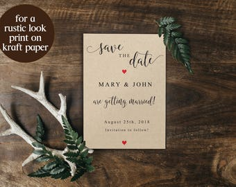 Save the Date Template, Printable Save the Day, Save the Date Card, Save the Date Invitation, DIY Wedding, Wedding Card, PDF Template, 6021