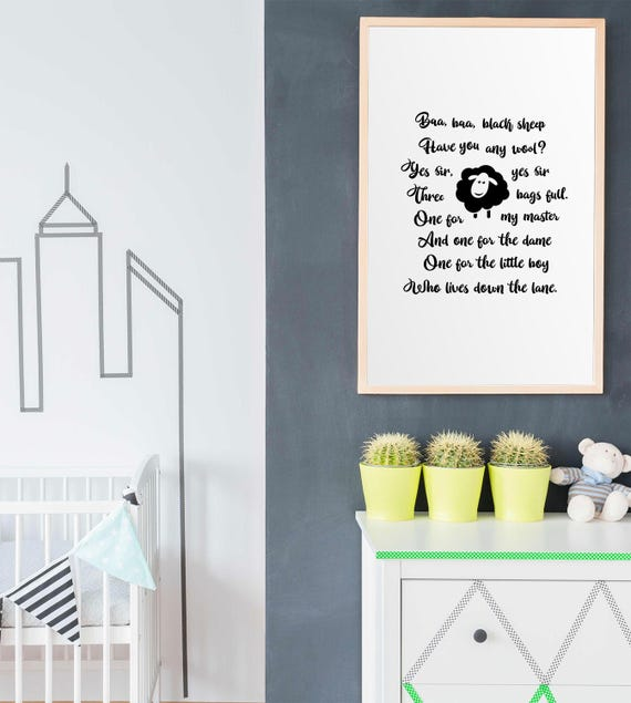 Nursery Rhyme Baa Baa Black Sheep Instant Download Print