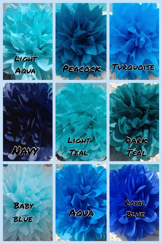 Shades Of Blue 9 Tissue Paper Pom Poms Wedding