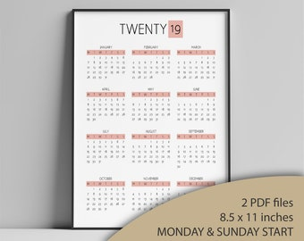 Printable 2019 Calendar, Monday & Sunday Start, Year At A Glance, Minimalist Calendar, Wall Calendar, Letter, 2 PDF, Pink   CAL004