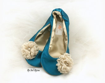 Teal and Gold Wedding Ballet Flats, Teal Ballet Shoes, Turquoise Wedding Flats Shoes, Teal Satin Bridal Flats