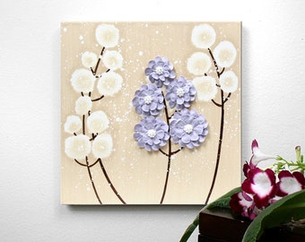 Small Painting on Canvas, Original Art with Sculpted Flowers in Khaki and Lavender - 10x10