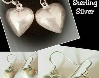 Mother's Day Gift ideas Vintage Southwest Indian Designed 925 Solid Sterling Silver Heart shaped earrings.