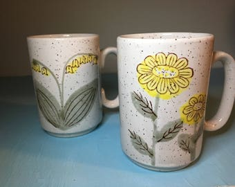 Daisy and Lily of the Valley Mug set, Stoneware, 1970's
