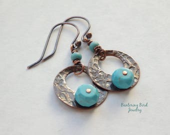 Hammered Copper Hoop Earrings with Turquoise Blue Stone Beads, Southwestern Style, Handcrafted Rustic Copper Jewelry