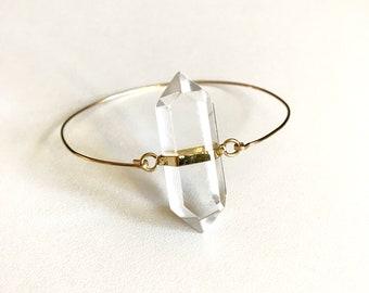 Crystal Quartz Gold Bangle Bracelet