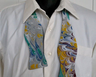 Men's Bow Tie with Sharkskin Grey, Potter's Clay and Yellow on Silk Cotton Batiste Fabric Made in Asheville, NC MM#17-1