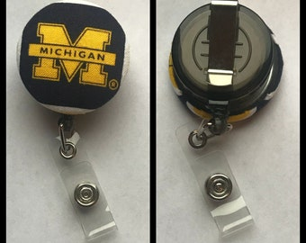 Nursing badge holder, nursing badge reel, nurse, teacher, coach, Michigan, football, wolverines