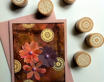 Little Lace Doilies Wood Block Mounted Round Rubber Stamps 6 Pieces
