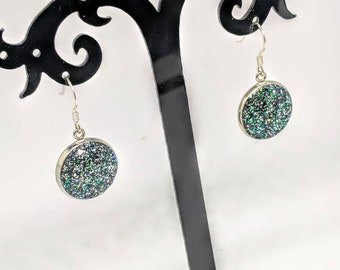 Glitter resin earrings, sterling silver earrings, dangle, drop, unique, gift for her, sparkle, sparkly, glittery, sparkling, birthday, gift