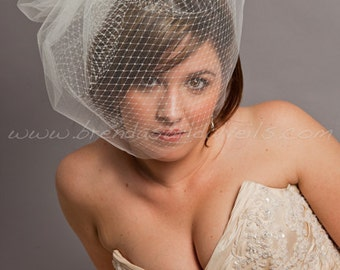 Birdcage Veil - Double Layer Blusher Tulle and Russian Net Bridal Veil w Detach Tulle Pouf - White, Diamond White, Ivory, Black