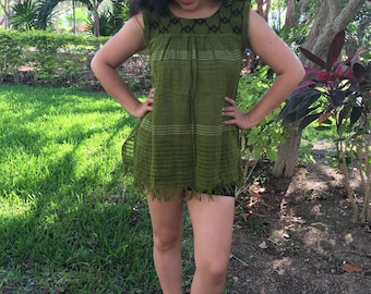 Traditional mexican olive  green with detail blouse of loom